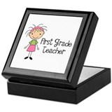 1st Grade Teacher Stick Figure Keepsake Box