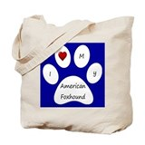 Blue I Love My American Foxhound Tote Bag