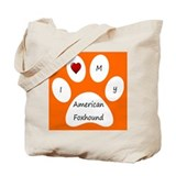 Orange I Love My American Foxhound Tote Bag