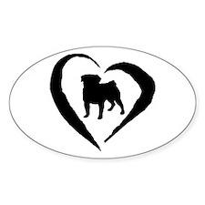 Pug Heart Oval Decal