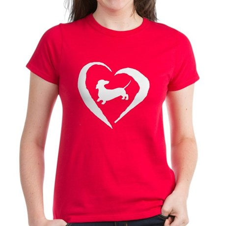 Dachshund Heart Women's Dark T-Shirt