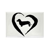 Dachshund Heart Rectangle Magnet (100 pack)