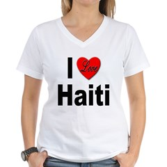 I Love Haiti Women's V-Neck T-Shirt