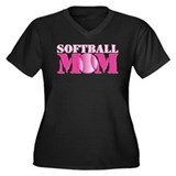 Softball Mom pink Women's Plus Size V-Neck Dark T-
