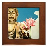 Cat Art - Blue Blue Sky Framed Tile