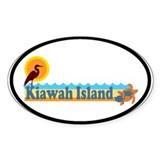 Kiawah Island SC - Beach Design Oval Decal