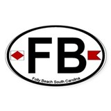 Folly Beach - Oval Design Oval Sticker (10 pk)