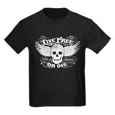 Live Free Or Die Vintage Kids Dark T-Shirt