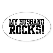 My Husband Rocks Oval Decal