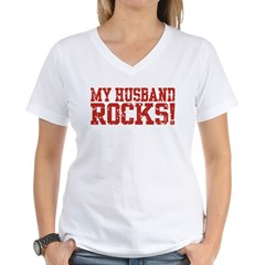 My Husband Rocks Women's V-Neck T-Shirt