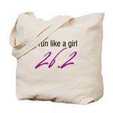 I run like a girl 26.2 Tote Bag