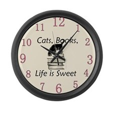 Cats Books Life is Sweet Large Wall Clock