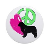 Peace Love & Newfies Ornament (Round)