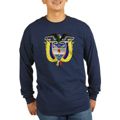 Colombia Coat of Arms (Front) Long Sleeve Dark T-S