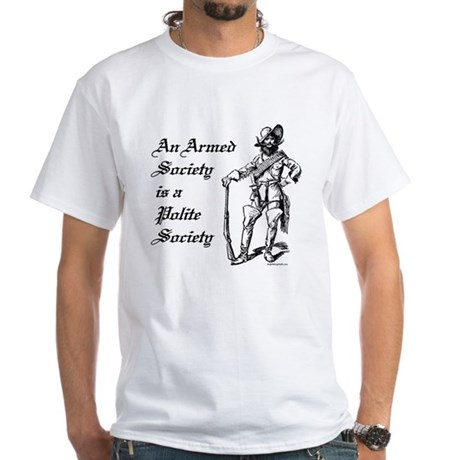 An Armed Society White T-Shirt