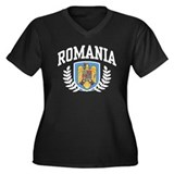 Romania Women's Plus Size V-Neck Dark T-Shirt