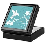 Cute Aqua blue bird Keepsake Box