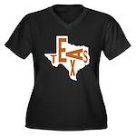 Texas Football Women's Plus Size V-Neck Dark T-Shi