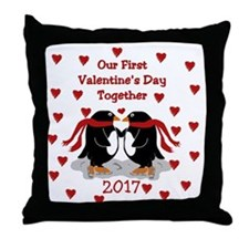 Penguin 1St Valentine's Day Throw Pillow
