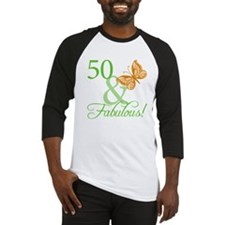 50 & Fabulous Birthday Baseball Jersey