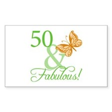 50 & Fabulous Birthday Rectangle Decal