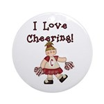 I Love Cheering (Red) Ornament (Round)