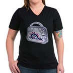 Flight 815 Luggage Women's V-Neck Dark T-Shirt
