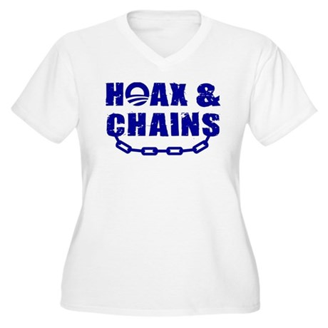 HOAX & CHAINS Women's Plus Size V-Neck T-Shirt