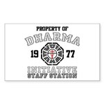 Property of Dharma - Staff Rectangle Sticker 50 p