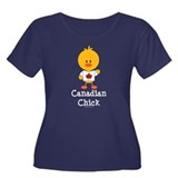 Canadian Chick Women's Plus Size Scoop Neck Dark T