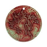 """Abundante"" Christmas Ornament ~ Ruby Patina"