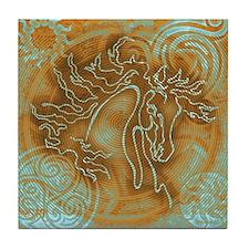 """Abundante"" Tile Coaster ~ Turquoise Rust"