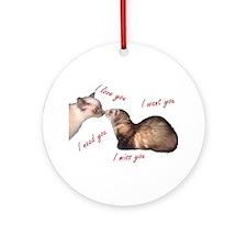 Cat and Ferret Love Ornament (Round)