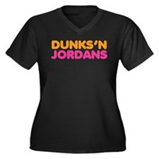 Dunks 'N Jordans Women's Plus Size V-Neck Dark T-S