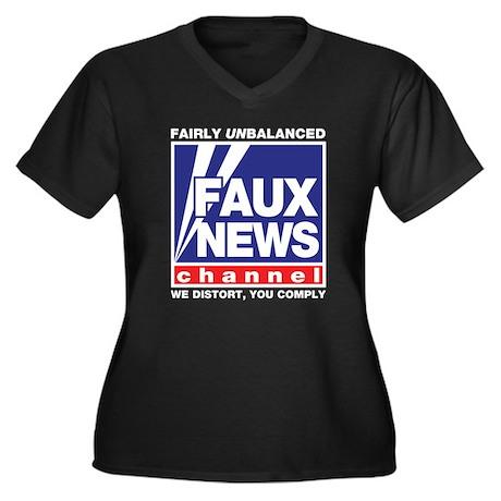Faux News (Fox) Women's Plus Size V-Neck Dark T-Sh