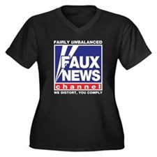 Faux News (Fox) Women's Plus Size V-Neck Dark T-Sh