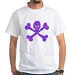 PurpleSkull&Crossbones White T-Shirt