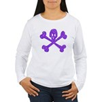 PurpleSkull&Crossbones Women's Long Sleeve T-Shirt