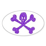 PurpleSkull&Crossbones Oval Sticker