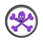 PurpleSkull&Crossbones Wall Clock