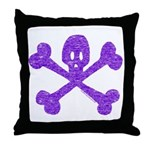 PurpleSkull&Crossbones Throw Pillow