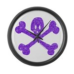 PurpleSkull&Crossbones Large Wall Clock