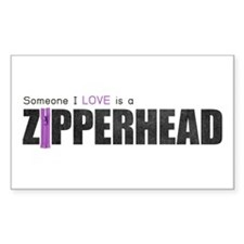 Someone I Love is a Zipperhead Rectangle Decal