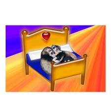 Ferret Couple Snuggle in Bed Postcards (Package of