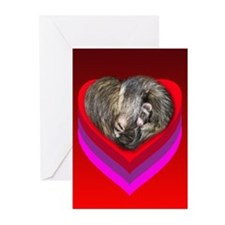 Ferrets Curled in Red Heart Greeting Cards (Pk of