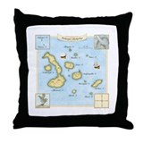 Galapagos Archipelago Map Throw Pillow