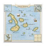 Galapagos Archipelago Map Tile Coaster