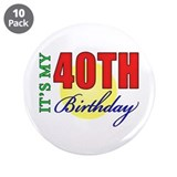 "40th Birthday Party 3.5"" Button (10 pack)"