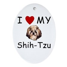 I Heart My Shih-Tzu Lost Humor Oval Ornament