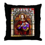 Christ Stained Glass Window Throw Pillow